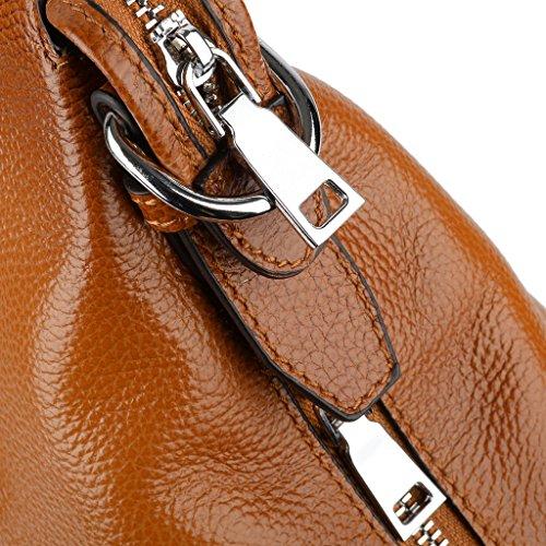Yaluxe Donna Vintage Stile morbido pelle Cartella Purse Borse a spalla grande Borse a tracolla adatto 13 Zoll Laptop Marrone