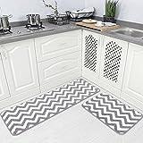 Carvapet 2 Pieces Microfiber Chevron Non-Slip Soft Kitchen Mat Bath Rug Doormat Runner