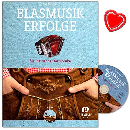 Blasmusik Erfolge - 20 beliebte Titel aus dem Bereich Blasmusik, mittelschwer arrangiert von Karl Kiermaier für Steirische Harmonika - mit CD, Griffschrifttabelle und bunter herzförmiger Notenklammer
