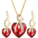 Beuya Mujer Conjunto Joyas Moda Colgantes de Cristal en Forma de corazón Collar Colgante y Pendientes Regalo para Conjunto de