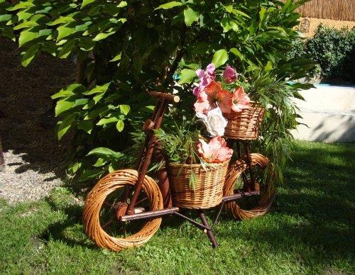 Baby - Fahrrad, Motorrad, Rad, Bike 40 x 32 klein, Korb, Körbe, Korbgeflecht, Rattan, Weidenkörbe, Weidenkorb, Pflanzkorb, Blumentöpfe, Holzschubkarre, Pflanztrog, Pflanzgefäß, Pflanzschale, Blumentopf, Pflanzkasten, Übertopf, Übertöpfe, Pflanztrog, Pflanztopf mit Holz - Deko, Blumentopf, NATUR HELL ideal für Holzhäuser Fertighäuser und Eingänge Pflanzgefäß, Pflanztöpfe Pflanzkübel