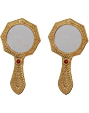 Hand Mirror Pair for Purse in Metal Octagonal Shaped Golden Finish by Handicrafts Paradise