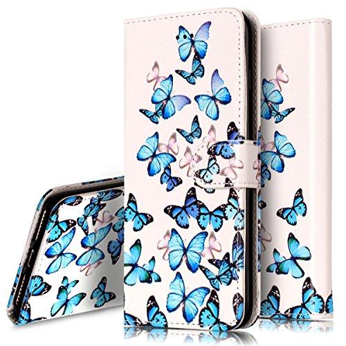 Custodia Cover per iPhone 7/8 plus,Ukayfe Luxury Protettiva Flip Portafoglio Cover Copertura Custodia con Super Sottile TPU Interno Case e Porta carte di credito in PU pelle Supporto Stand con Chiusur Piccola Farfalla blu
