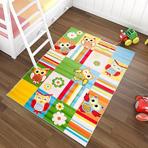 Tapiso Kinder Teppich Kurzflor Weich Kinderteppich Karo Streifen Eulen Muster Bunt Mehrfarbig Designer Kinderzimmer ÖKOTEX 240 x 330 cm (Streifen-teppich Kinder)