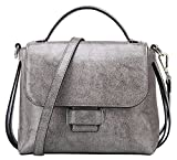 SAIERLONG Damen Dunkelgrau Rindleder-Echtes Leder Handtaschen Schultertaschen