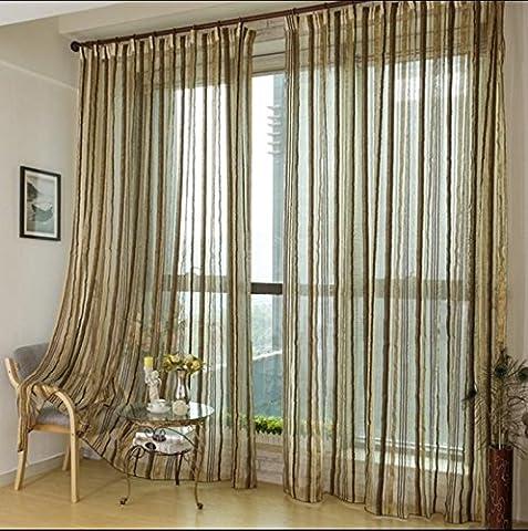 Voilage Vitrage Premium Transparente à rayures/drapé/panneaux/Traitement Taille 199,9x 269,2cm, 1