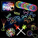 Juvad Glow Party Pack - 150 Pezzi Braccialetti Luminosi Fluorescenti e Accessori per Festa: Occhiali Orecchie Palla Bracciali Collane Tubi Fluo Bastoncini Fosforescenti