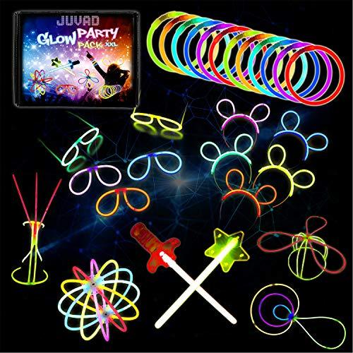 JUVAD Glow Party Pack XXL Spezielles ZUBEHÖR - 150 Knicklichter Armbänder Leuchtstäbe Set Party Box & Zubehör | Leuchtarmbänder Knick Lichter Partyset Set