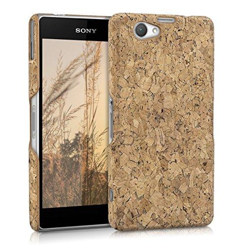 kwmobile Funda de corcho para Sony Xperia Z1 Compact - Case trasero para móvil - Cover protector duro en marrón claro
