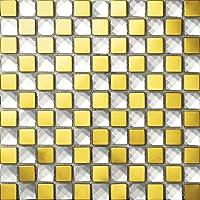 Oro Piedras de Strass Mosaico de vidrio de acero inoxidable Azulejos de mosaico color mixto acero inoxidable mosaico 300*300mm Cocina backsplash / ducha de pared de la pared de la pared / Hotel pasillo pared de la frontera / piso residencial de piso y aplicaciones de la pared SB015-13 (11 pieza/㎡)