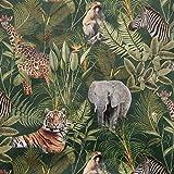 Samtstoff Dekostoff Italian Velvet Samt Safari Tiere Palmen