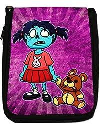 Zombie Living Walking Family Dead Medium Black Canvas Shoulder Bag - Size Medium