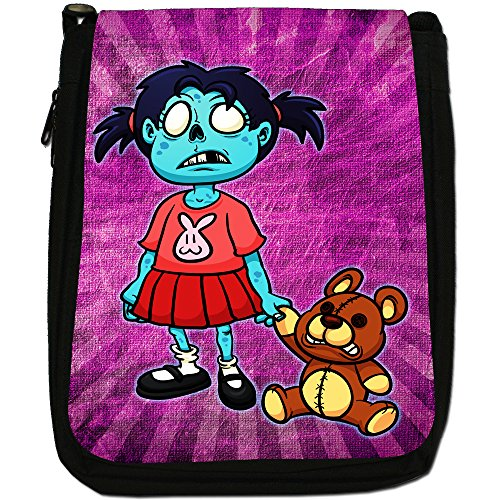 Zombie Living Walking Famiglia morti Medium Nero Borsa In Tela, taglia M Little Zombie Girl With Teddy
