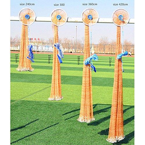 ZZM Cast Net Angeln 2,4m-3.6m American Style Angeln Gill Netzwerk Sport Fly Hand Überwurf Angeln aus Netz Kleiner Mesh Catch Net, 360cm