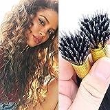remeehi 100Strähnen Natur Gelockt Micro Bead Nano Ringe Haarverlängerung, 100% unbehandeltes brasilianisches Echthaar 1g/s