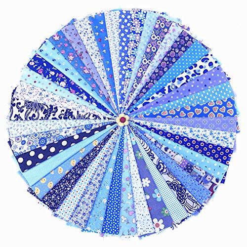 Raylinedo Paquete de 42 piezas de tela precortada cuadrada, con impresión, de algodón, para patchwork, artesanías y manualidades, tamaño 20x 30cm
