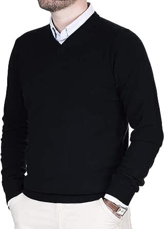 Cashmere Zone Maglione Uomo Scollo a V Puro Cashmere 100% Made in Italy Lana Pullover a Manica Lunga Soffice e Morbido