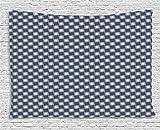 ABAKUHAUS Floral Décoration Murale, Ornement Japonais De l'est, Pas de décoloration, 200 x 150cm, Gris Anthracite Bleu Foncé Blanc