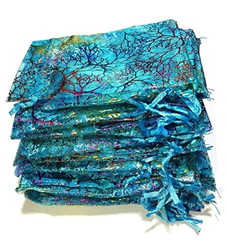 ralline Blue Organza Geschenk-Taschen, Kordelzug Schmuck Beutel, Süßigkeiten Beutel Schokolade Beutel Party Wedding Favor Geschenktüte, 4,7 x 3,5 Zoll ()