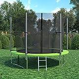 XXL Trampolin 305 cm Gartentrampolin Komplettset mit Netz innenliegend Leiter Erdanker Spanngurte Abdeckung - 2