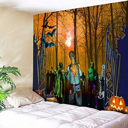 Myvovo wall hanging art halloween forest zombie stampa arazzo psichedelico -arancio -tessutoblu