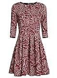 oodji Ultra Damen Jersey-Kleid mit Faltenrock, Rot, DE 36 / EU 38 / S