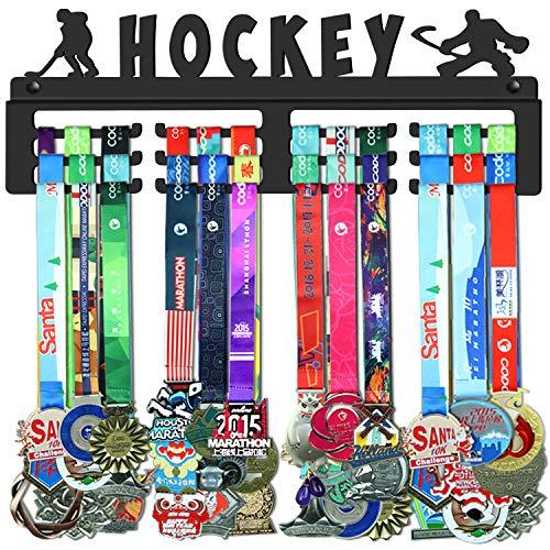 WEBIN Eishockey Medaillen Aufhänger,Medaille Halter Display Rack,Schwarz Robust Stahl Metall Halter,Über 50 Medaillen