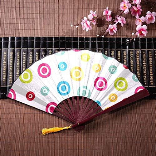 EIJODNL Hand Fan Griff Muster Polka Dot Stoff mit Bambus Rahmen Quaste Anhänger und Stoffbeutel große Bambus Hand Fan dekorative Fans japanische Fan japanisch für Männer