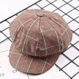 mlpnko Persönlichkeit Gitter achteckigen Hut Damen Sonnenhut lässig Reise Sonnencreme Baskenmütze Maler Hut Kaffee 56-58cm