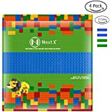 NextX Building Baseplates 4 Packs Compatible With Lego Building Blocks 10'' X 10'' (Blue, Green)