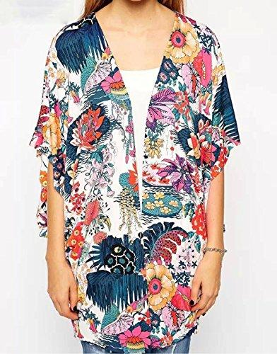 Hibluco Damen Florale Kimono Cardigan Strand Chiffon Bluse Tops Bikini Cover Up K4