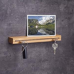 Woods Schlüsselbrett Holz mit Ablage I Nut - Schlüsselhalter modern I Wanddekoration aus Holzhandgefertigt in Bayern I Schlüsselleiste Landhaus Design I Schlüsselboard aus Holz 30 cm Eiche