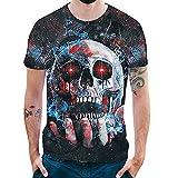 Pers5onlichkeit Mens 3D Print Skull beiläufige Dünne kurzärmelige Shirt Top Bluse