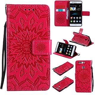 LMAZWUFULM Hülle für Huawei P9 lite/VNS-L31 5,2 Zoll PU Leder Magnet Brieftasche Lederhülle Sonnenblume Prägung Design Stent-Funktion Ledertasche Flip Cover Rot