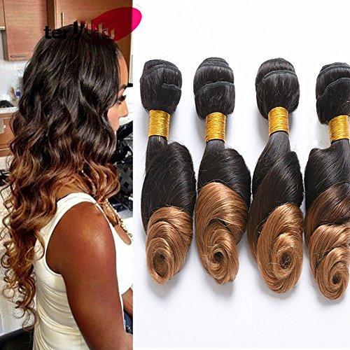 8A Brasilianisch Mensch Haar Erweiterung Lose Welle Echthaar Tressen Haarverlängerung Weben Unverarbeitet Ombre Schwarz zu Blond Farbe Schuss 1 Bündeln 100g(Farbe #1b/4/27) , 16
