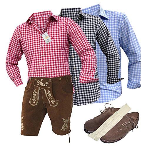 Trachtenset-Trachtenanzug Lederhose Plattler+Hemden+Schuhe (Haferl)+Strümpfe+Träger Braun Echt Leder Herren (54)