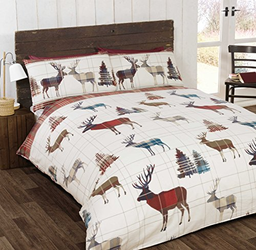 Bedding Heaven Reversible Stag Flannelette Duvet Cover Set, Checked Brushed Cotton Quilt Cover Set. Natural or Multi. Single, Double, King Size, Super King. (superking, Multi)