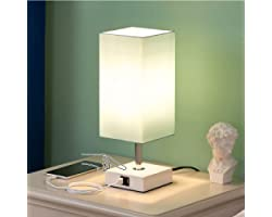 Touch Bedside Lamp with USB Ports, Aooshine Modern Teal Aqua Table Lamp with 2 USB Quick Charging Ports, 3 Way Dimmable Lamp