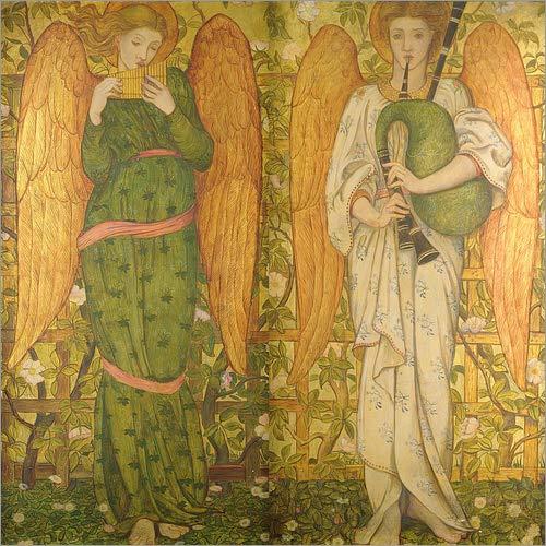 Poster 80 x 80 cm: Engel mit Panflöte und Dudelsack von John Roddam Spencer Stanhope/Bridgeman Images - hochwertiger Kunstdruck, neues Kunstposter