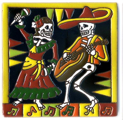 Dekofliese 013 Skelett - Fiesta- 15x15 cm, handgemacht aus Mexiko, Dia de los muertos.