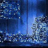 Deuba 100 LED Lichterkette 7m I Blau I Batterie & Timer I für Innen & Außen I 8 Funktionen - Weihnachtsbeleuchtung Weihnachtsdekoration Weihnachtsbaum Beleuchtung