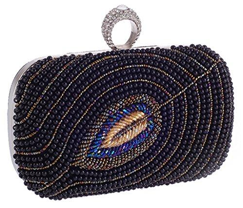 ERGEOB Damen Abendtasche Damen Perle Perlen handgearbeiteten Tasche schwarz 03 schwarz