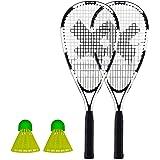 HUDORA Badminton Set Speed 3 Badminton B/älle /& Badminton Tasche Federball Badmintonschl/äger inkl