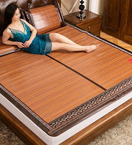 Utilisation double face tapis de lit --- Matelas tissé en bambou pliable Cool Double face pour l'été - Single / double / King Size --- tapis de lit pliant en bambou naturel et en ro ( Couleur : 1mat , taille : 150*195cm )