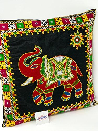A1SONIC® Funda de cojín con bordado étnico indio de lentejuelas, diseño vintage indio con bordado y patchwork