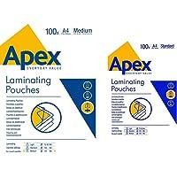 Fellowes Apex Pochette de plastification Epaisseur moyenne 125 microns Transparent & A4 Apex Standard Duty Lamination…