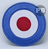 #308 LAMBRETTA MOD SHOOTER TARGET SCOOTER BLUE- SHOOTING FLAG EMBROIDERED PATCH