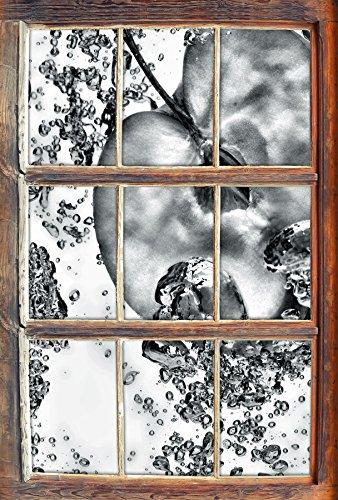 Stil.Zeit Monocrome, Frische Apfelscheiben im Wasser Fenster im 3D-Look, Wand- oder Türaufkleber Format: 92x62cm, Wandsticker, Wandtattoo, Wanddekoration (Kiwi-erdbeer-vitamin Wasser)