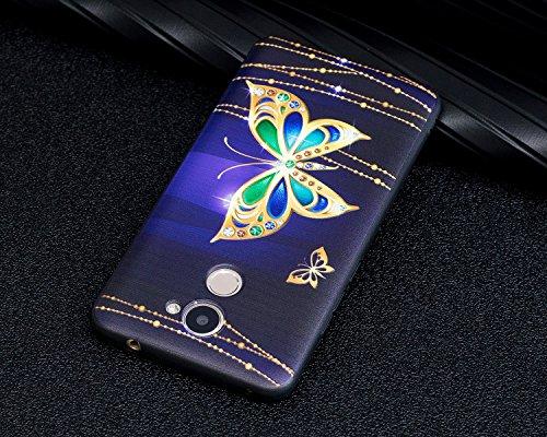 Huawei Y7/Huawei Y7 Prime Coque,Huawei Y7 Housse Diamant,Huawei Y7 Etui Coque Rose Romantique Élégant Fleur Motif,ETSUE Huawei Y7 Silicone Coque Luxueux Scintiller Bling Doux Coque Transparent Housse  Papillon Splendide