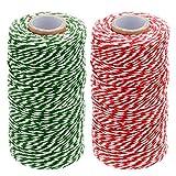 Cuerda de algodón de 100 m, cordel de cocina Bakers, color 2 pcs Red and Green